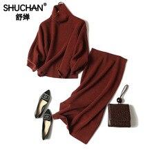 Shuchan 100% Cashmere Turtleneck Pullover Loose +pencil Skirts High Street Designer Women Suit Quality Korean Style