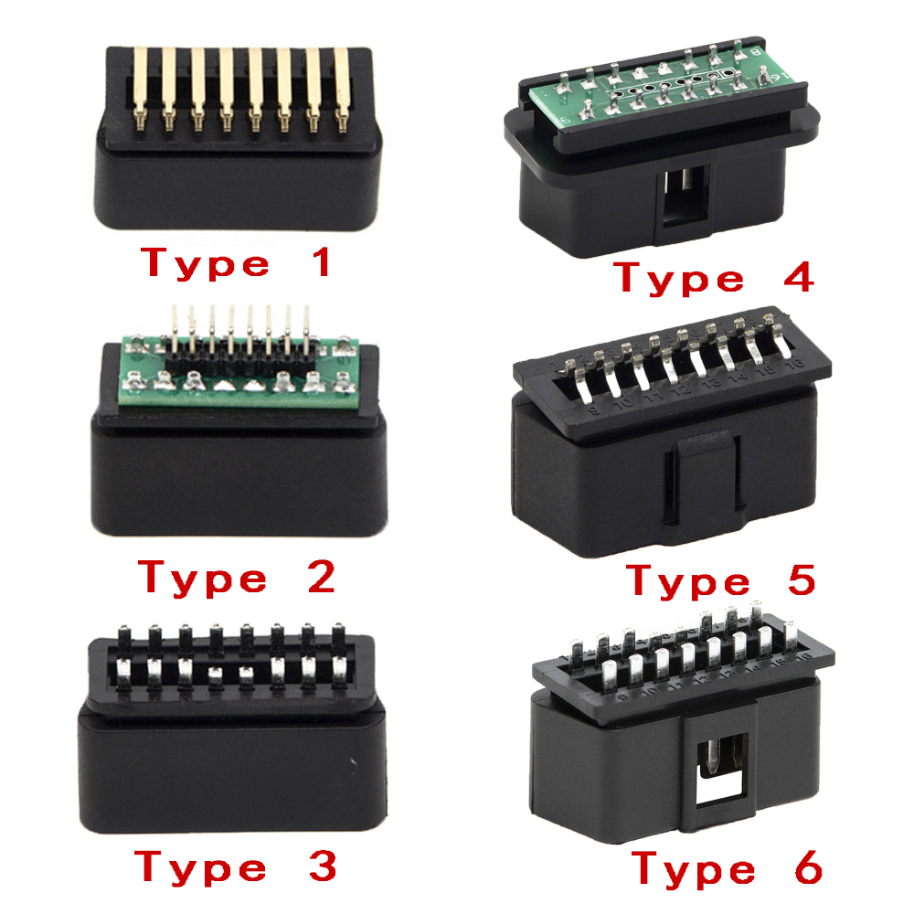 6 Types 16 PIN OBD2 Male Car/Trucks  Connector Plug OBDII J1962 Connector Plug Wiring For Diagnostic Tool DIY Shell