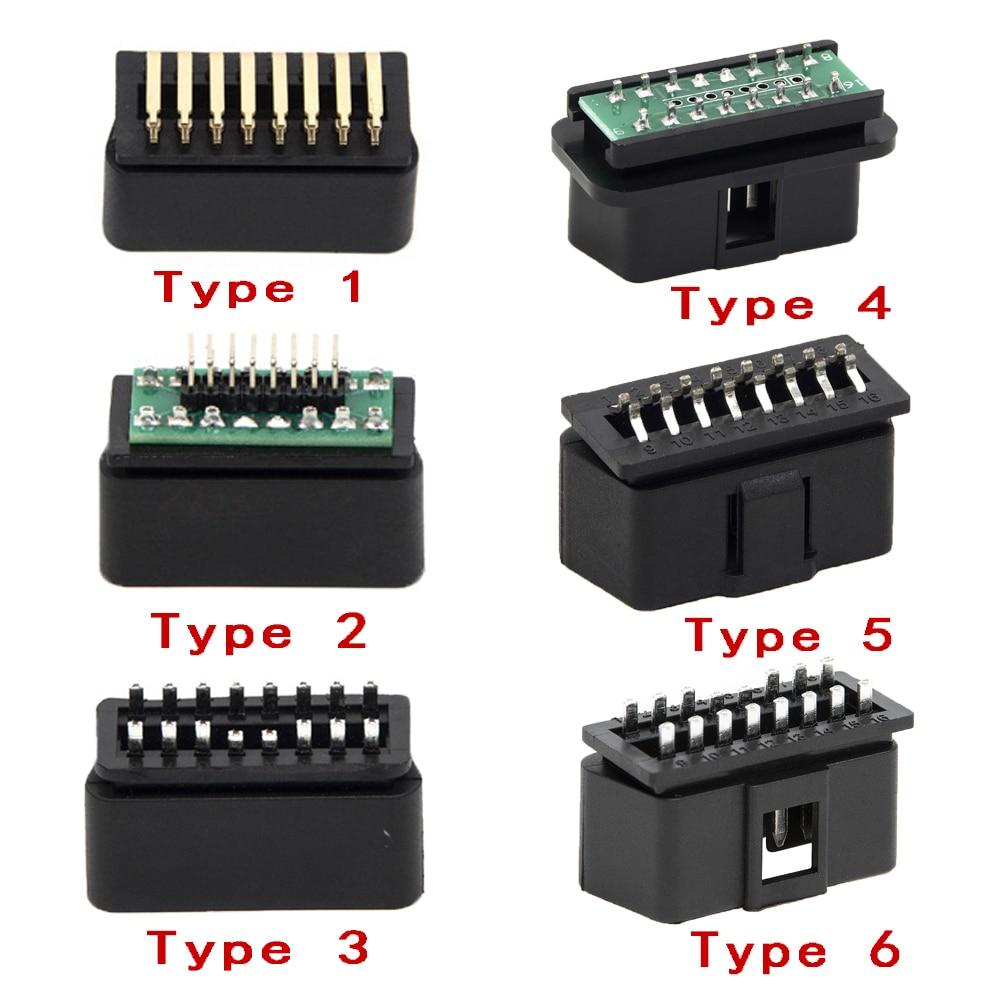 6 Types 16 PIN OBD2 Male Car/Trucks  Connector Plug OBDII J1962 Connector Plug Wiring For Diagnostic Tool DIY Shell
