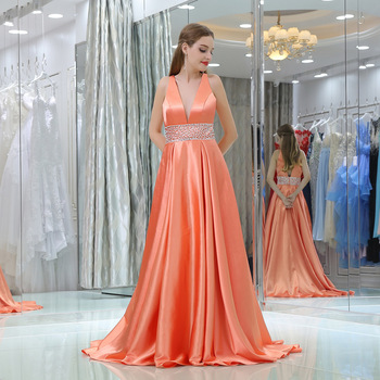 Sexy Satin Evening Dresses Long Beaded V-neck A Line Formal Dress Women Elegant Custom Made Plus Size Gala Event Party Gown 2019 sexy elegant women formal gala party long dress plus size arabic muslim gold long sleeve evening prom dresses gown 2019