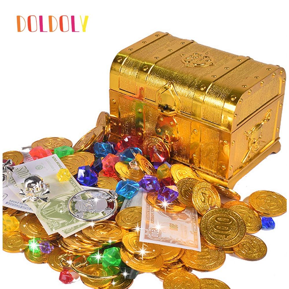 Doldoly Пластик золото сокровища в виде монет капитан пиратский вечерние пират, сундук с сокровищами ребенка сундук Золотая монета игрушка