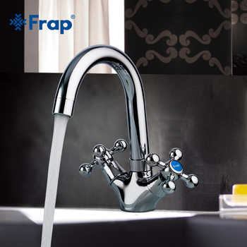 FRAP Bathroom Chrome Basin Faucets Kitchen Faucet Daul Handle Sink Faucet Tap Bath Hot and Cold Water Mixer Faucet F1319 - DISCOUNT ITEM  48% OFF All Category