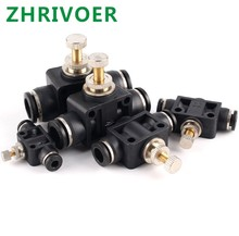 OD Tube Flow control Throttle valve Pneumatic Fittings Pneumatic type speed control connector Black DSA 4 6 8 10 12MM