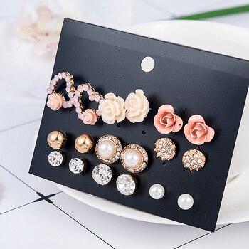 2019 New Fashion Women 9pair/set Flower Pearl Alloy Ear Earring Cute Crystal Wedding Jewelry Gifts For Girl korean fashion 3