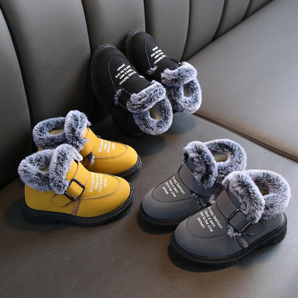 Winter Kids Boots Children Kid Girls Boys Ankle Warm Short Leather Bootie Buckle Strap Casual Shoes Winter Boots Kids Waterproof