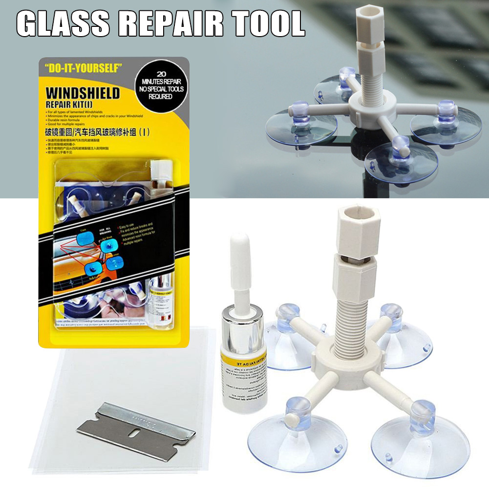 Windscreen Windshield Repair Kit Suction Cup Window Glass Crack Repairing For Car DTT88