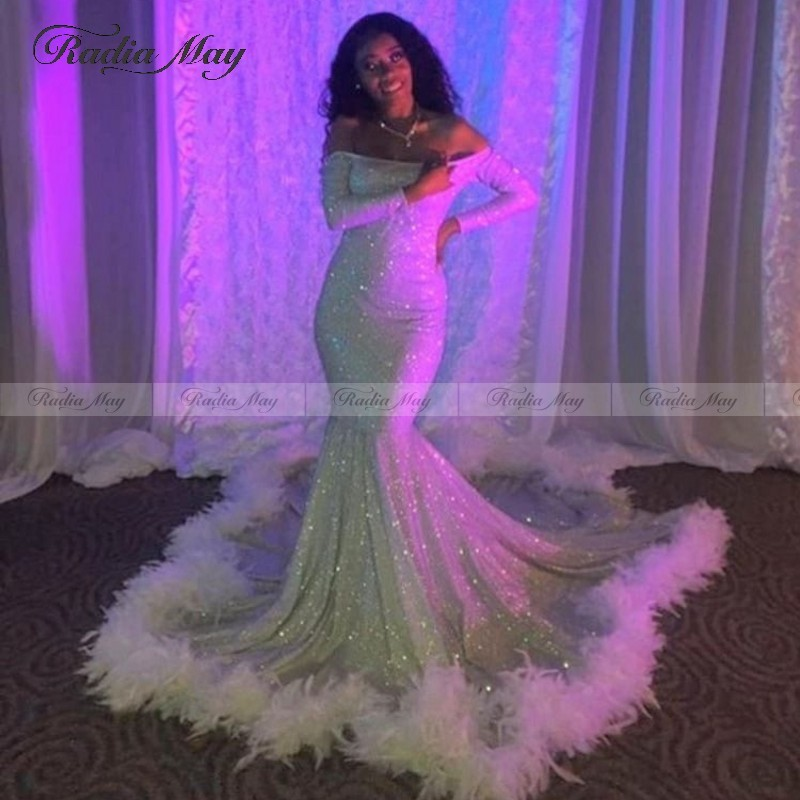 African Off Shoulder Feather Prom Dresses With Full Sleeves 2020 Shiny Sequin Long Party Gowns Black Girl Formal Evening Dress