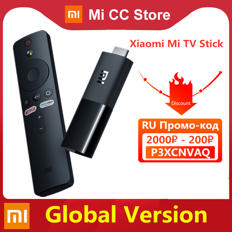 Глобальная версия Xiaomi Mi TV Stick Android TV 9,0 смарт-ТВ-приставка 1 ГБ ОЗУ 8 Гб ПЗУ Bluetooth 4,2 мини ТВ-тюнер-приемник Wi-Fi и Google Assistant
