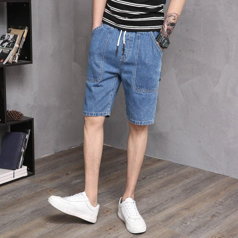 2019 New Style Retro Bermuda Shorts Male Fifth Pants Sub-Blue Bags-Knee-length Denim Shorts Loose-Fit Jin Yao