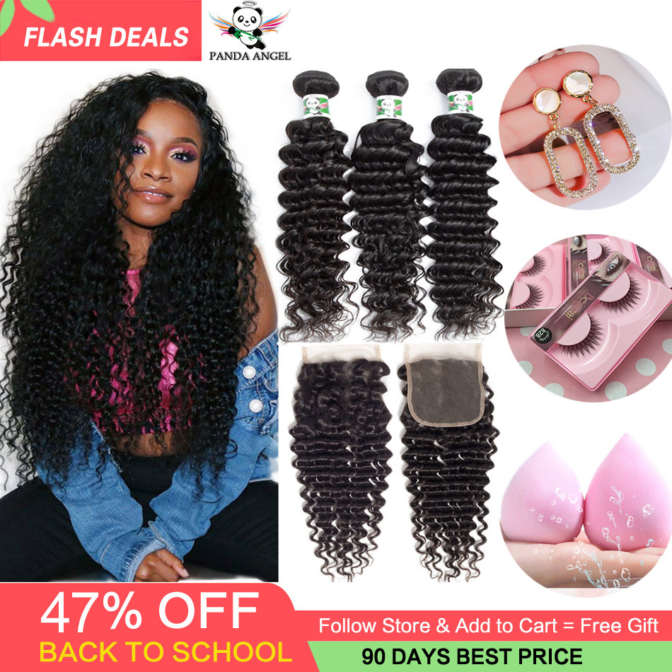Brazilian Deep Wave Bundles with Closure Wet and Wavy Brazilian Human Hair Weave Bundles with Lace Closure Deep Curly Extensions