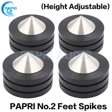 PAPRI 49x37MM Feet Base Isolation Stand Spikes 304 Stainless Steel Graphite Isolation Chassis For Audio Turntable Speaker 4PCS