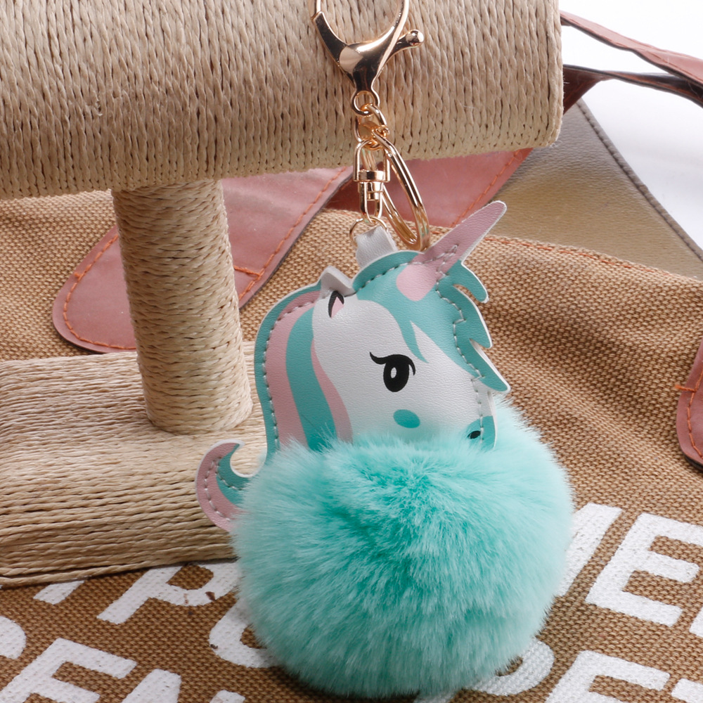 Hot Pompom Unicorn Keychain Rabbit Fur Ball Horse Key chain porte clef Bag Car Keyring llavero mujer chaveiros For Women in Key Chains from Jewelry Accessories