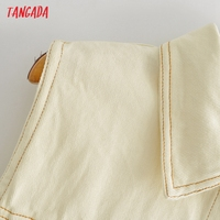 Tangada Women Solid Denim Short Dress Pocket Sleeveless 2021 Fashion Lady Elegant Dresses Vestido YI10 2