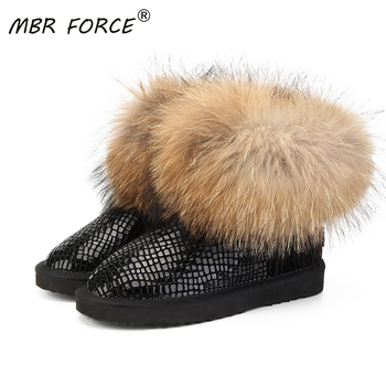 MBR FORCE Women natural real fox fur snow boots fashion boots for women high quality genuine cow leather winter Ankle boots allbitefo natural genuine leather snake texture cow leather women ankle boots fashion sexy motorcycle boots girls winter shoes