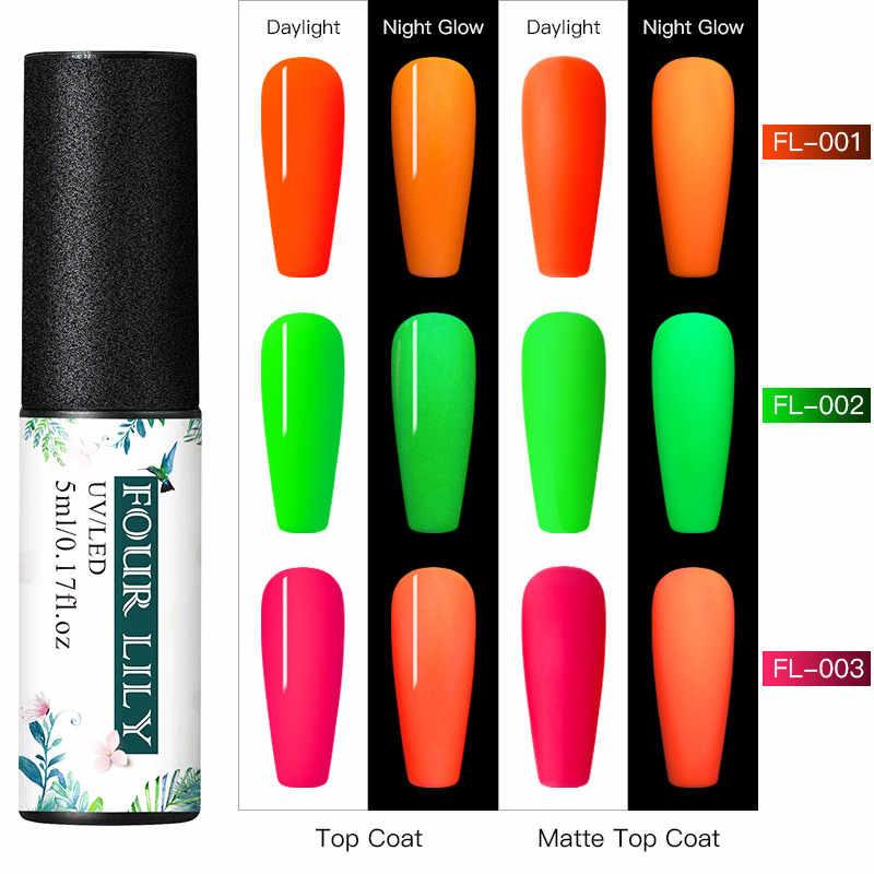 VIER LELIE UV Gel Night Glow In Dark Nail Gel Polish Set Fluorescent Neon Lichtgevende Pigment Dust Nail Poeder Set manicure Decals