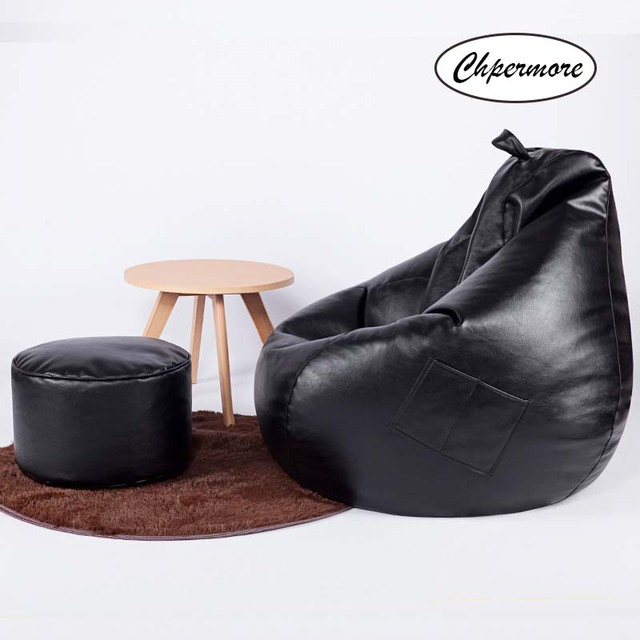 Leather Bean Bag w/ Ottoman 2