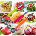 2 в 1 нож для резьбы фруктов Gadge Фруктовая тарелка ложка-шарик для крема DIY инструмент для резьбы фруктов резак для арбуза инструменты для рез...