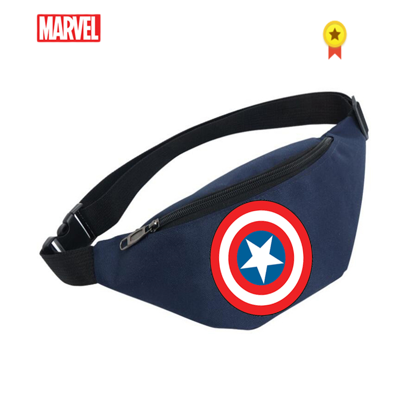 Marvel Logo Waist Bag Sports Messenger Bag Running Shoulder Bag Casual Chest Canvas Small Waist Pack Canvas Bag  Men Travel