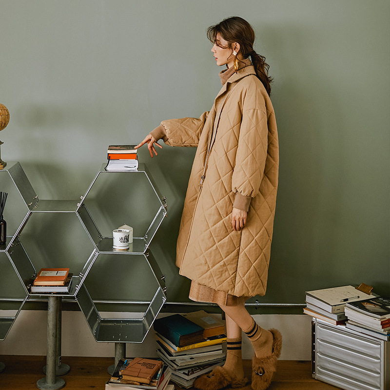 Retro Fake Two-Piece Cotton-padded Clothes Winter 2018 New Style Korean-style Boutique WOMEN'S Dress Khaki Suit Collar Long Cott