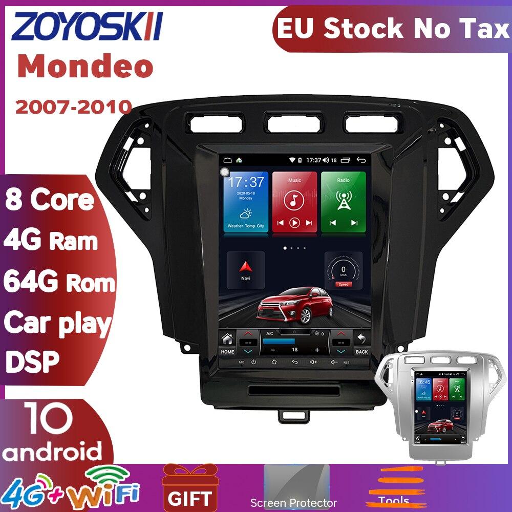 Android 9.0 10.4 polegada tela vertical tesla estilo carro gps multimídia rádio bluetooth jogador de navegação para ford mondeo 2007-2010