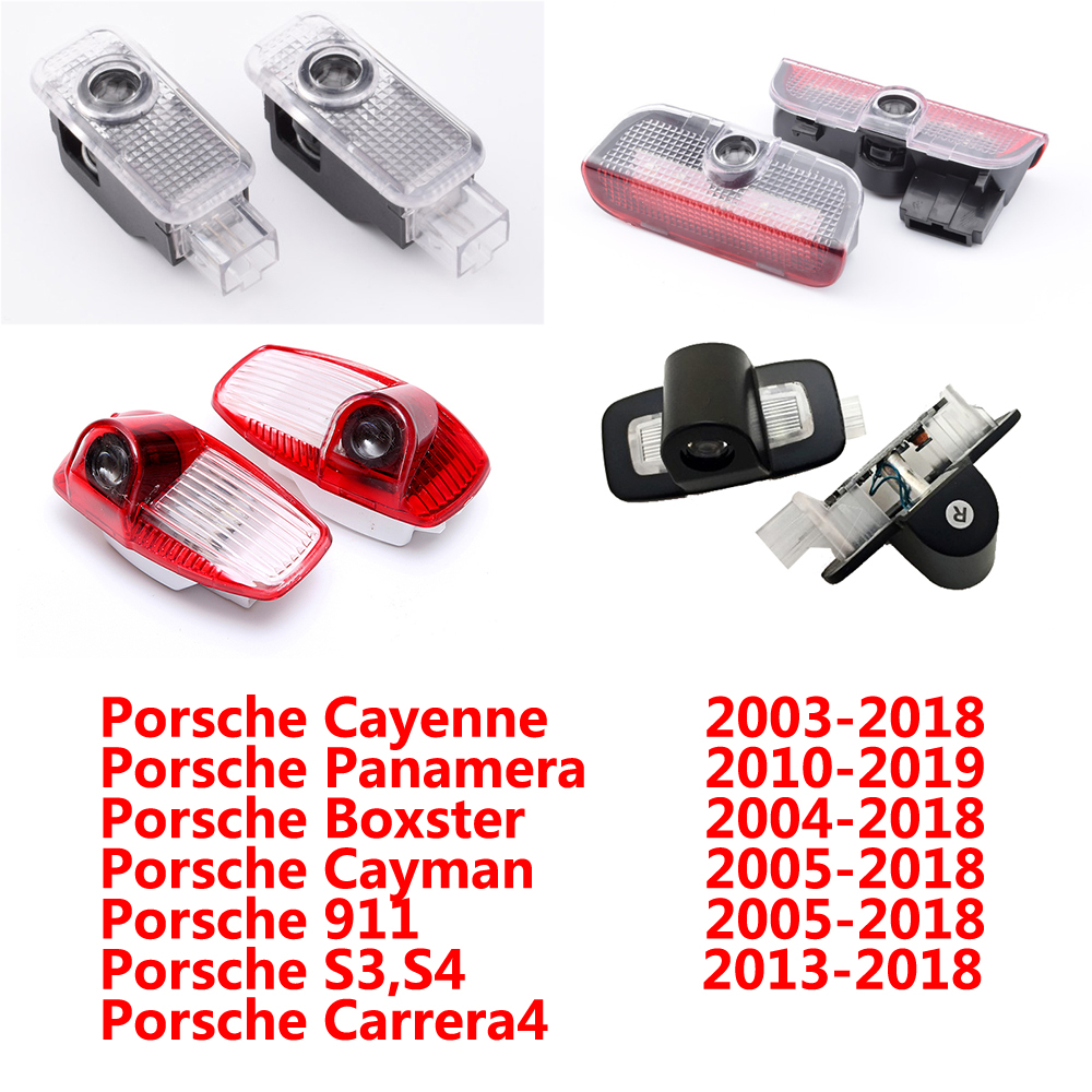 2Pcs For Porsche Panamera Cayenne Boxster Cayman Macan 911 S3 S4 Carrera4 LED Car Door Laser Projector Logo Ghost Shadow Light
