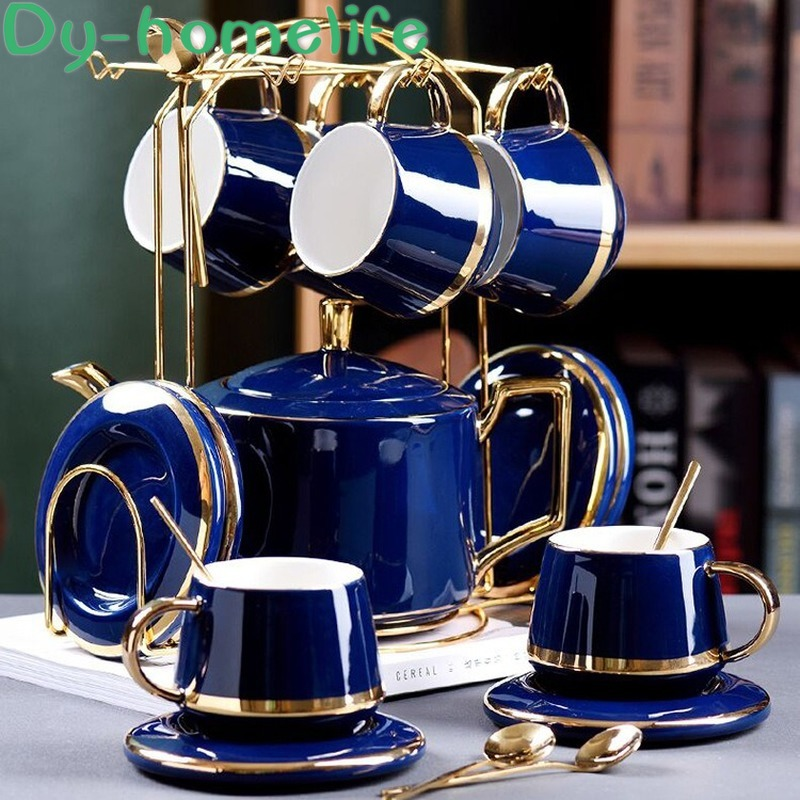 Nordic Phnom Penh Blue Green Ceramic Coffee Tea Set Hotel Home Coffee Cup Saucer Pot With Metal Frame Coffee Set Tea Set