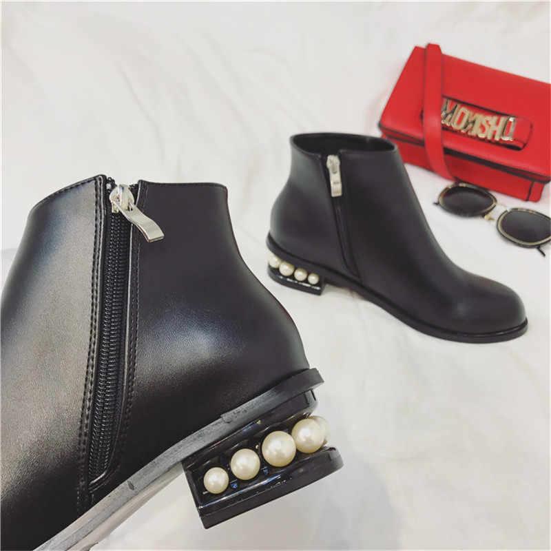 MOLAN Marke Designer 2019 Winter Mode Luxus Perle Runde Kappe Schwarz Leder Knöchel Martin Stiefel Zipper Schuhe Für Frau Plüsch
