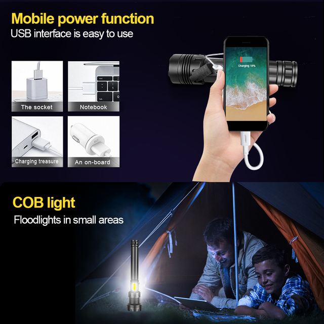 XHP160 COB Led Flashlight 18650 or 26650 Usb Tactical Flash Light XHP70.2 Rechargeable Led Lantern Zoom Hunting Bright Work Lamp 5