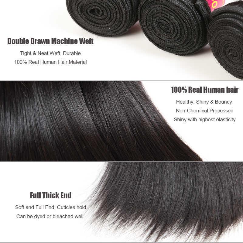 """Ali Königin Haar 3 stücke Viel Brasilianische Reine Haarwebart Bundles 8 """"~ 30"""" Natürliche Farbe Gerade Haar unverarbeitete Menschliches Haar Weben"""