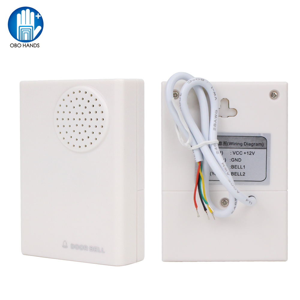 OBO Wired 12VDC Door Bell With 4 Wires Ding Dong Sounds Fireproof ABS Plastic Doorbell Chime Ring For Door Access Control System