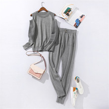 2019 Knitted Off-Shoulder Sexy Sweaters and Pants Sets 2PCS Track Suits Autumn and Winter Knit Trousers+Jumper Tops Clothing Set cutout shoulder and back jumper