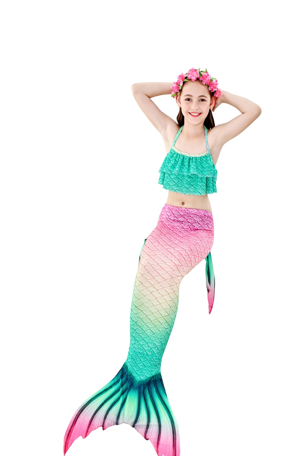 He6ae7b86ddf94826bf35cec40c4ae0d59 - 4PCS/Set HOT Kids Girls Mermaid Tails with Fin Swimsuit Bikini Bathing Suit Dress for Girls With Flipper Monofin For Swim