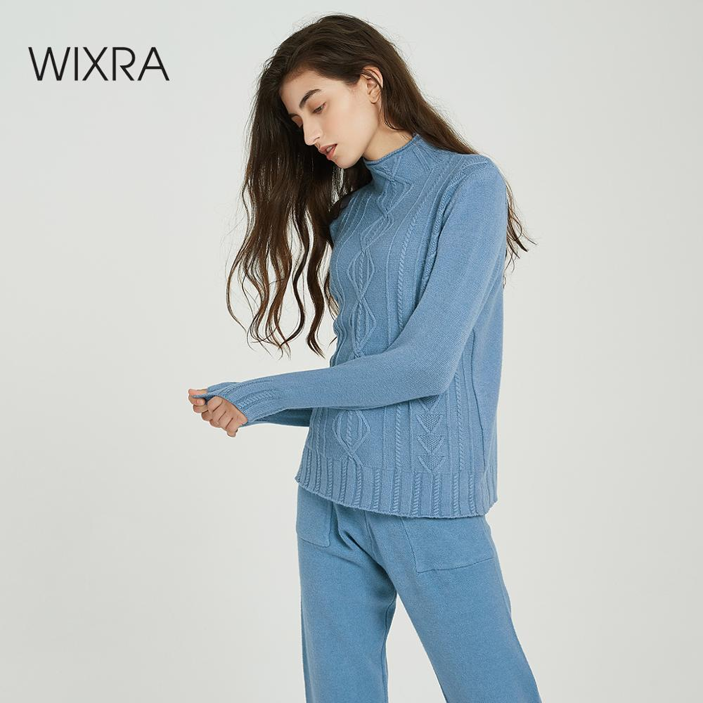Wixra Women Sweater Suits And Set Casual Turtleneck Sweaters Pants 2PCS Track Suits Long Pullovers+Trousers Top Clothing Sets