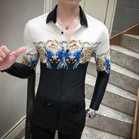 Digital Printed Casual Shirt Men Long Sleeve New 2020 Korean Dress Slim Fit Tuxedo Shirts Male Fashion Night Club Work Shirt Men