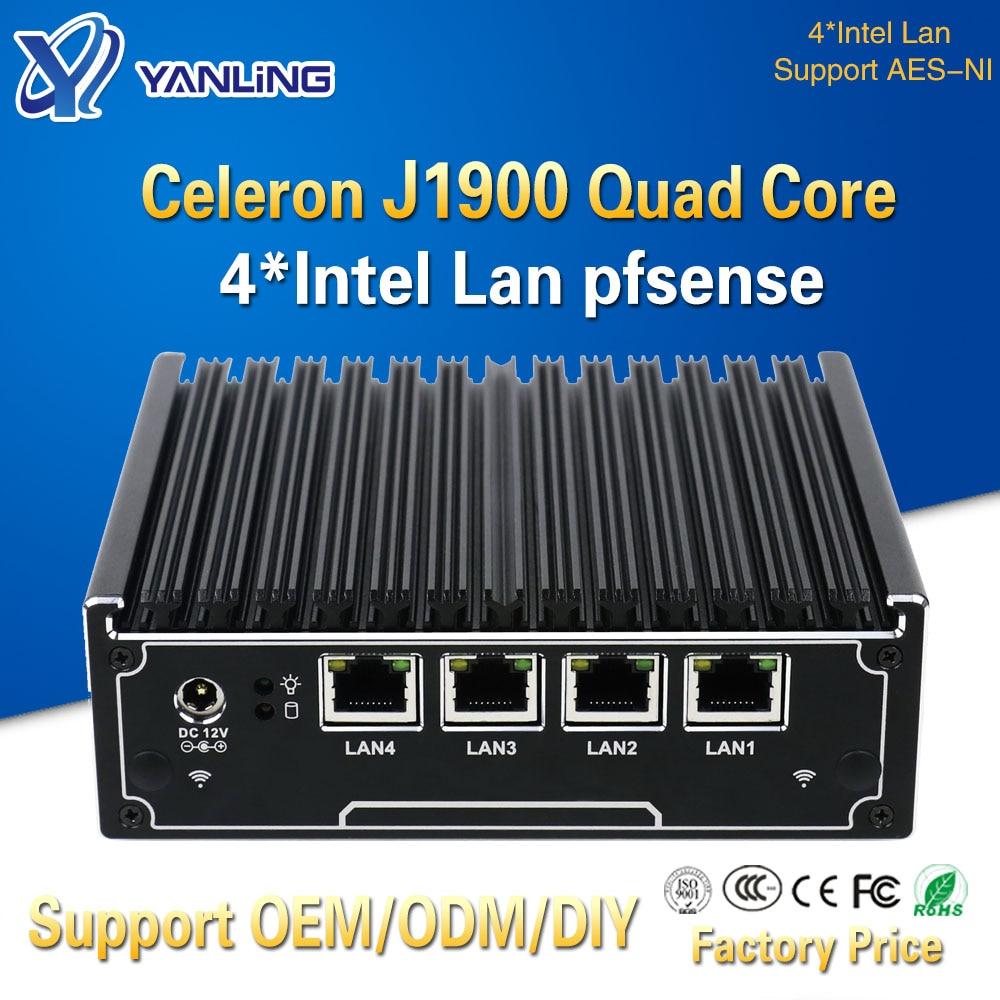 Yanling 4 Gigabit Lan Network Firewall Intel J1900 Quad Core Barebone System Fanless Mini Pc Server For Windows 7 8 10 Pfsense
