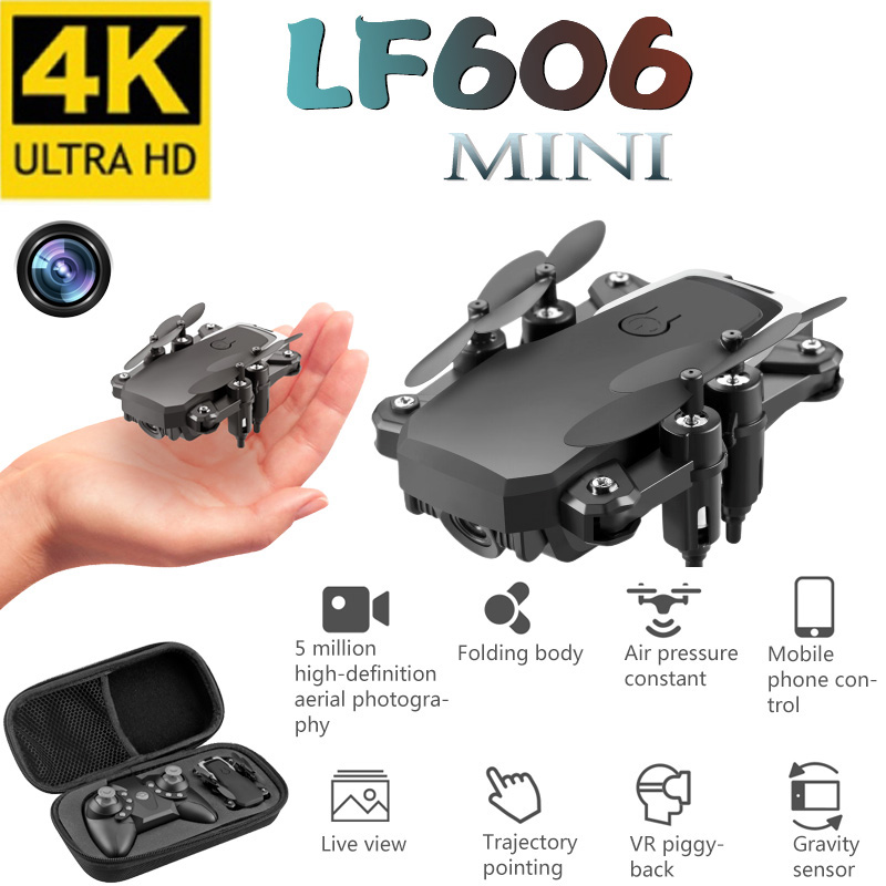 LF606 Mini Drone With 4K Camera HD Foldable Drones One-Key Return FPV Quadcopter Follow Me RC Helicopter Quadrocopter Kid's Toys