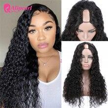Парик AliPearl с U-образными волосами, бразильские волнистые человеческие волосы, парик для черных женщин, 150, 180, 250 плотность, волосы Remy, безклеев...