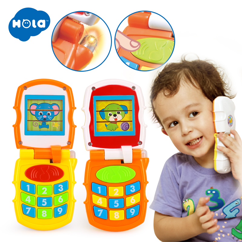 HOLA 766 Baby Flip Phone Toy For Toddlers 0-12 Months Increasing Baby IQ Educational Toys For Infant Vocal Toy For Children Gift