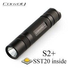 LED Flashlight Convoy S2 Plus SST20 Torch Mini Lanterna 18650 Portable Flash Light Camping Fishing Hiking Outside Light Latakar