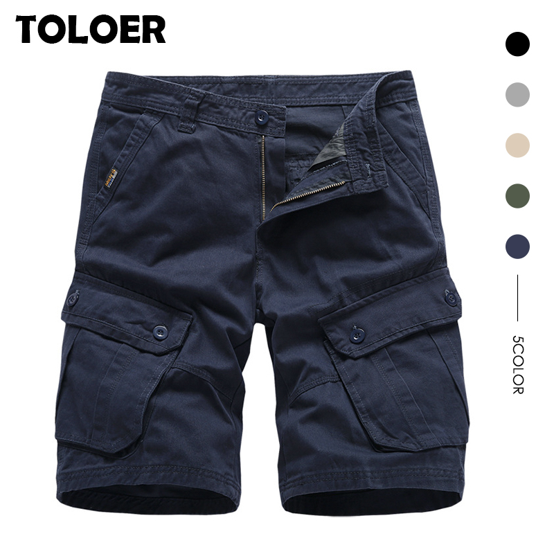 Cargo Shorts Men Cotton Bermuda Male New 2020 Summer Men''s Baggy Military Zipper Pants breeches Male Army Green Tactical Shorts