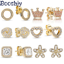 Boosbiy 2019 New Arrival Stud Earring For Women 21 Style Classic Cubic Zirconia Gold Color Fashion Brand Wedding Jewelry Gift