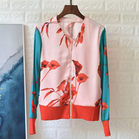 Svoryxiu Fashion Color Matching Flower Print Jackets Coat Women's Long Sleeve V Neck Loose Thin Cardigan Jackets Tops Female