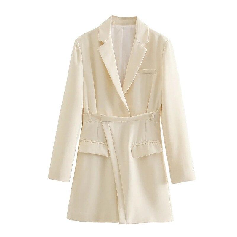 Merodi-minivestido elegante para mujer, vestido Beige con bolsillos dobles, manga larga, cintura alta