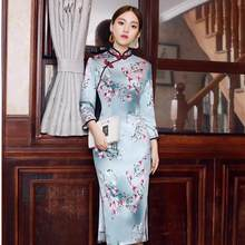 2019 Spring Elegent Women Bracelet Sleeve Dresses Simulation Silk Printing Long Section Lady Large Size Retro Cheongsam(China)