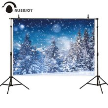 Allenjoy photography backdrop winter wonderland forest Christmas tree snow glitter stars photo background photophone photocall бортики в кроватку forest little stars