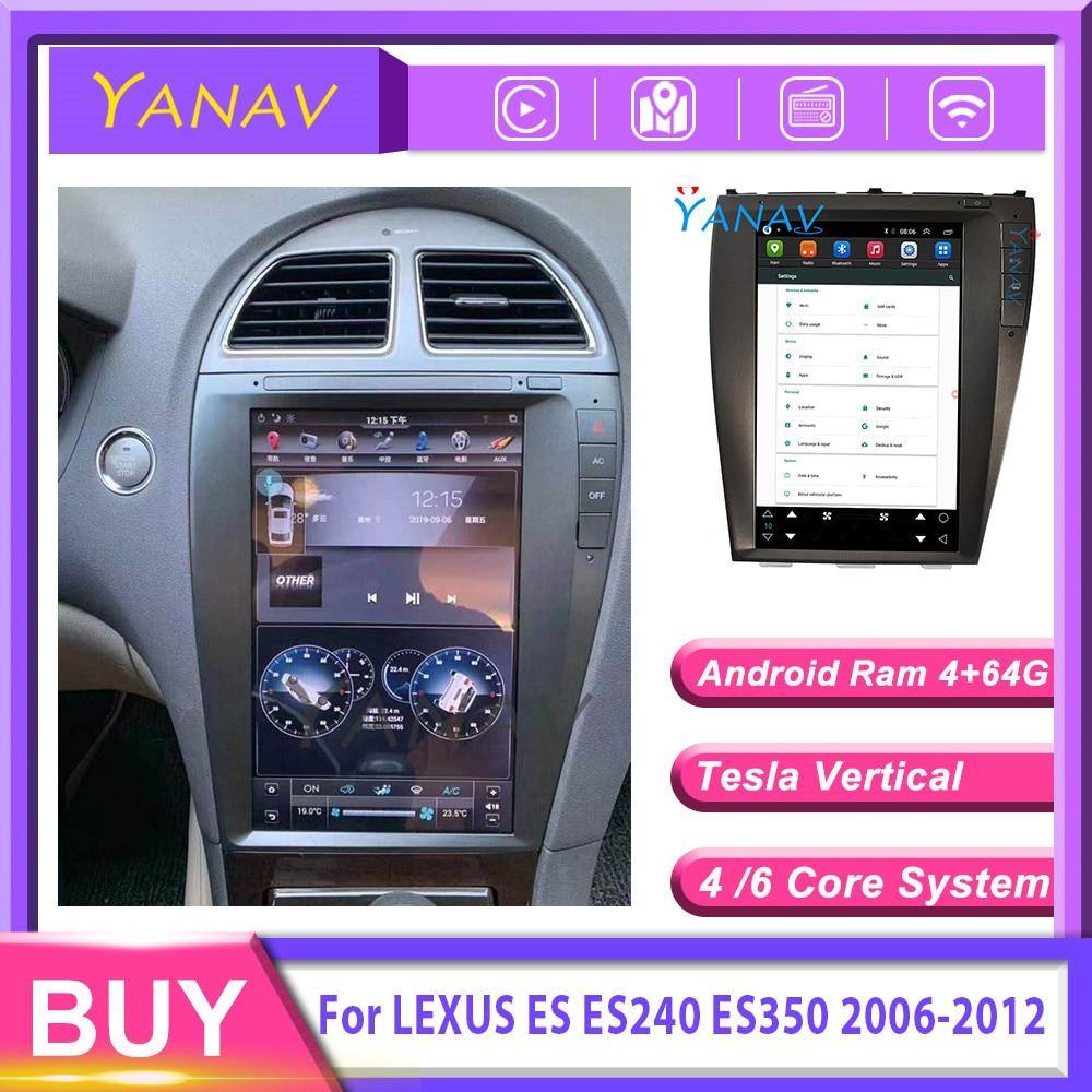 Radio multimedia con GPS para coche, radio con reproductor, Android, 2 din, estéreo, navegador, tesla, receptor vertical, para LEXUS ES ES240 ES350 2003-2012