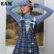 Spaghetti-Strap Dress New Blue Plaid Bandage Fit-Fashion Spring Summer Long Women EAM
