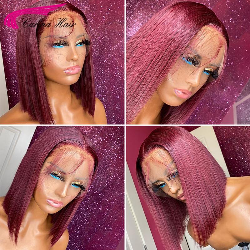 Short Bob Wigs 150% Burgundy Brazilian Human Hair Wig 13x6 Lace Front Human Hair Wigs