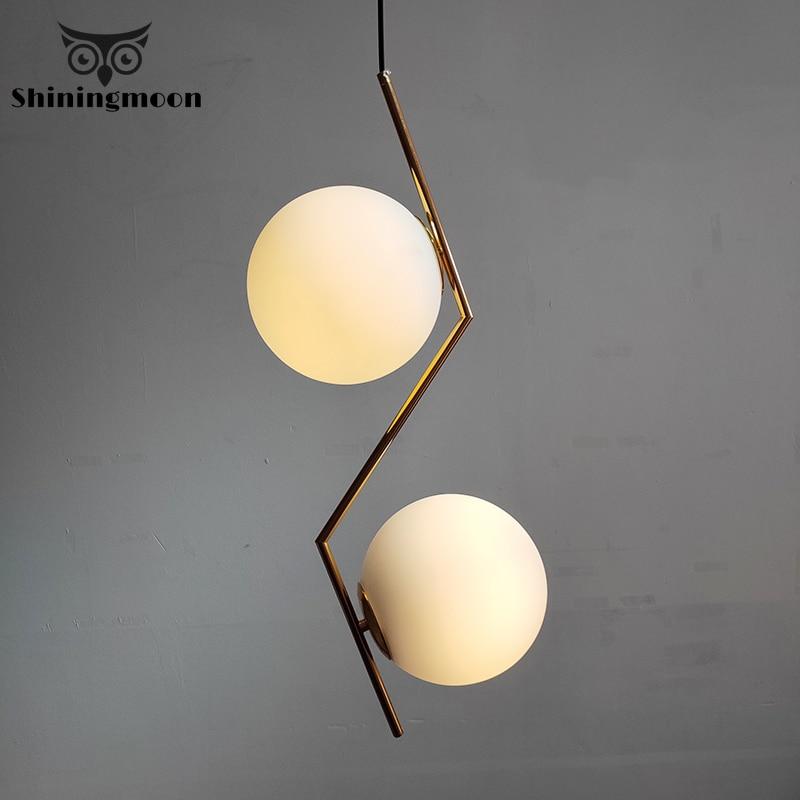 Modern LED Round Glass Ball Pendant Lights Glod Lighting Luminaire Industriel Hanging Lamp Dining Room Kitchen Pendant Lamp