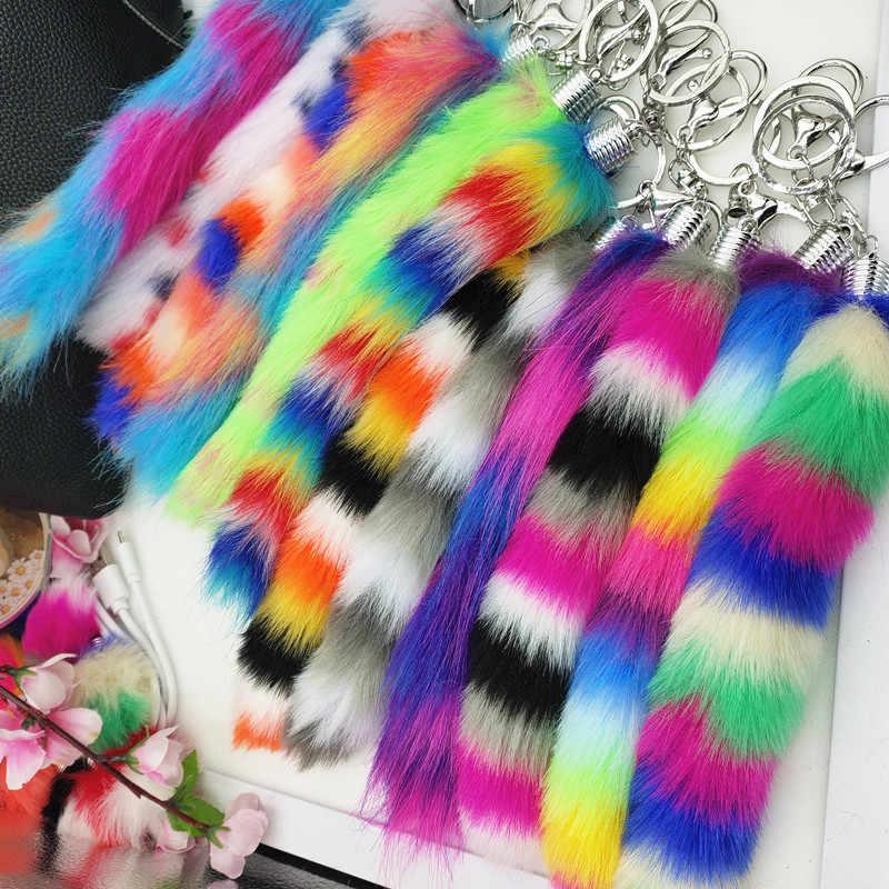 Baru 5 Colorful Palsu Bulu Ekor Gantungan Kunci Rambut Panjang Garis-garis Horizontal Gantungan Kunci Liontin Tas Hiasan Gantungan Kunci Bulu Halus pompon Hadiah